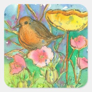 De waterverf bloeit Robin Bird Vierkante Sticker