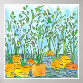 De Waterverf die van wortelen Moestuin schilderen Poster