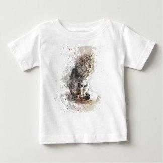 De Waterverf van de Kat van de gestreepte kat Baby T Shirts