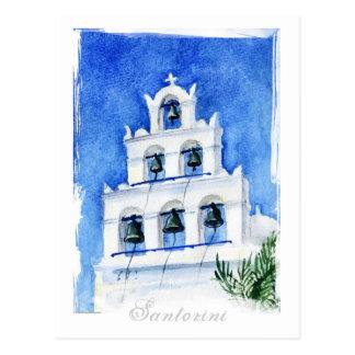 De waterverf van de Kathedraal van Santorini Briefkaart