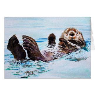 De Waterverf van de Otter van het zee Notitiekaart