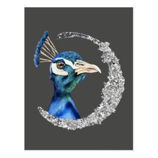 De Waterverf van de pauw met Zilver Faux schittert Briefkaart