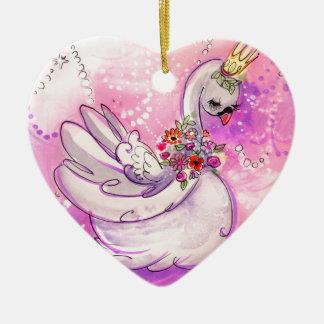 De Waterverf van de Zwaan van de verjaardag Keramisch Hart Ornament