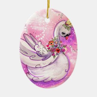 De Waterverf van de Zwaan van de verjaardag Keramisch Ovaal Ornament