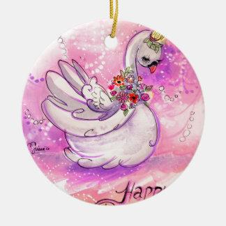De Waterverf van de Zwaan van de verjaardag Rond Keramisch Ornament