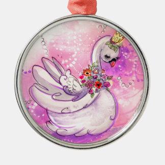 De Waterverf van de Zwaan van de verjaardag Zilverkleurig Rond Ornament
