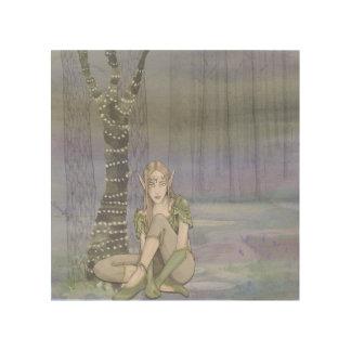 De Waterverf van Elve van de zitting op het Houten Hout Afdrukken