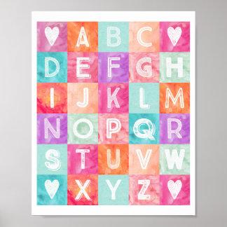 De Waterverf van het Alfabet van het Decor van het Poster