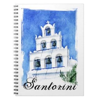 De waterverf van Santorini belltower het schildere Ringband Notitieboek