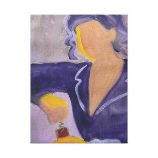 De waterverfkunst van Sommelier voor wijnminnaars Canvas Print