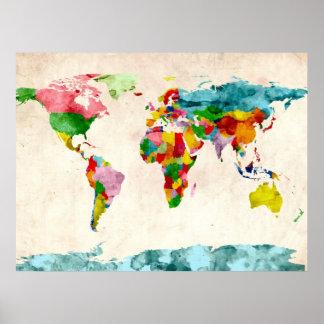 De Waterverven van de Kaart van de wereld Poster