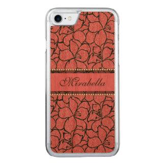 De weelderige Roze Lelies met zwart overzicht, Carved iPhone 8/7 Hoesje