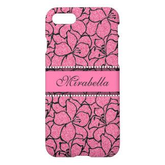 De weelderige Roze Lelies met zwart overzicht, iPhone 8/7 Hoesje