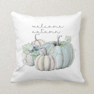 de welkom herfst - blauwe pompoen sierkussen