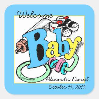 De welkom Jongen van het Baby personaliseert het Vierkante Sticker