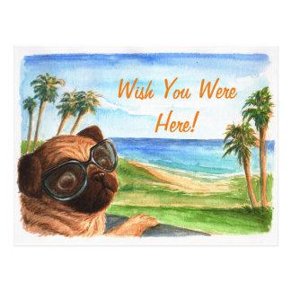 De wens u was hier pug briefkaart