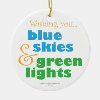 De Wens van Kerstmis van Skydiver Rond Keramisch Ornament