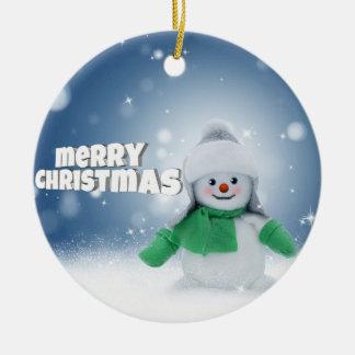 De wensen van de sneeuwman rond keramisch ornament