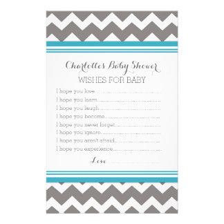 De Wensen van het baby shower voor de Blauwe Briefpapier