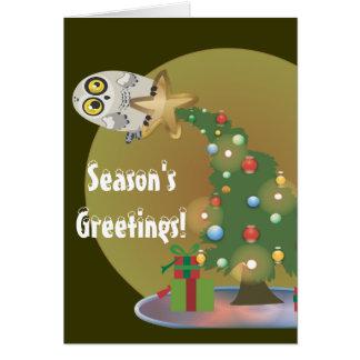 De Wenskaarten van Owl~Holiday van de kerstboom