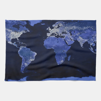 De wereld bij Nacht - Kaart, Ruimte Theedoek