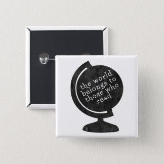 De Wereld van de speld behoort tot zij die Zwart Vierkante Button 5,1 Cm