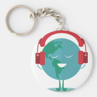 De Wereld van Wellcoda slaat Globale Muziek stemt Basic Ronde Button Sleutelhanger