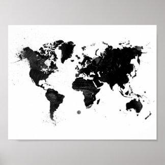 De wereldkaart van de waterverf poster