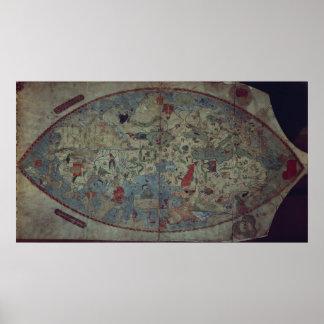 De wereldkaart van Genoese, door Toscanelli wordt  Poster