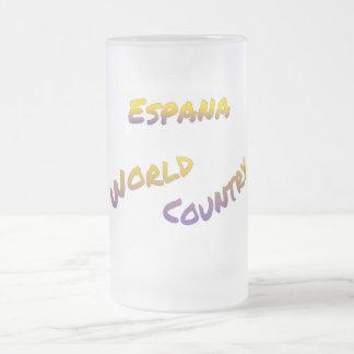 De wereldland van Espana, kleurrijk tekstart. Matglas Bierpul