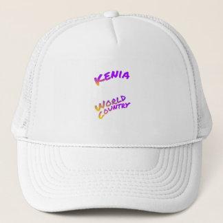 De wereldland van Kenia, kleurrijk tekstart. Trucker Pet
