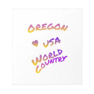 De wereldland van Oregon de V.S., kleurrijk Notitieblok