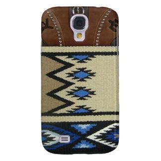 """De westerne """"Deken & Leer"""" IPhone 3 Blauwe van het Galaxy S4 Hoesje"""