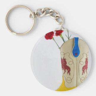 De westerne Rode Gele Blauwe Rodeo van het Paard Basic Ronde Button Sleutelhanger
