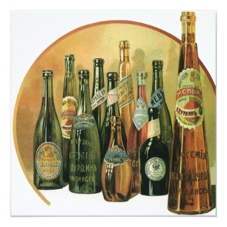 De wijnoogst Ingevoerde Flessen van het Bier, 13,3x13,3 Vierkante Uitnodiging Kaart