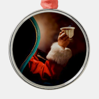 De Wijnoogst van de Koffiepauze van de kerstman Zilverkleurig Rond Ornament