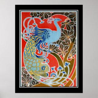 De Wijnoogst van de Pauw van het art deco Poster