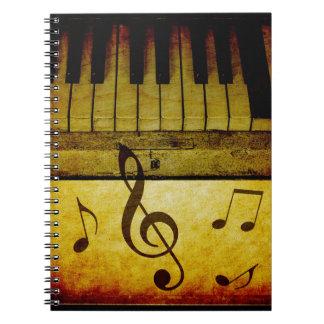 De Wijnoogst van de Sleutels van de piano Ringband Notitieboeken