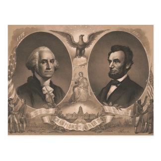 De Wijnoogst van George Washington Abraham Lincoln Briefkaart