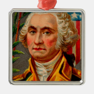 De Wijnoogst van George Washington Zilverkleurig Vierkant Ornament