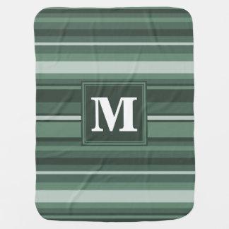 De wijze groene strepen van het monogram inbakerdoek