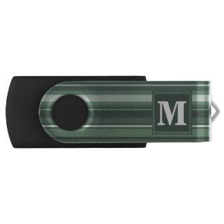 De wijze groene strepen van het monogram swivel USB 2.0 stick