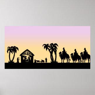De Wijzen van het Silhouet van de geboorte van Chr Poster