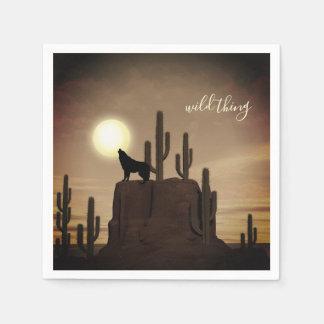 de wilde Cactus van de Woestijn van de Wolf van de Wegwerp Servet