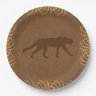 De Wilde Kat van het Thema van de safari met de Papieren Bordje