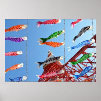 De Wimpels van de karper (Koinobori): Tokyo, Japan Poster