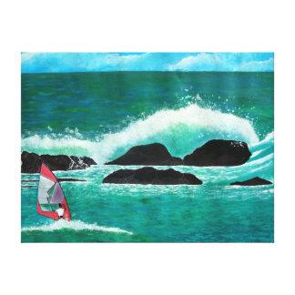 De Wind die van WindSurfer in het Zeegezicht Wrapp Stretched Canvas Afdrukken