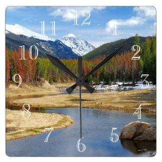 De windende Rivier van Colorado met Bergen en Pijn Vierkante Klok