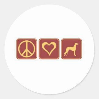 De Windhond van de Liefde van de vrede Ronde Stickers