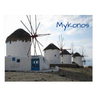 De windmolens, Mykonos, Griekenland Briefkaart
